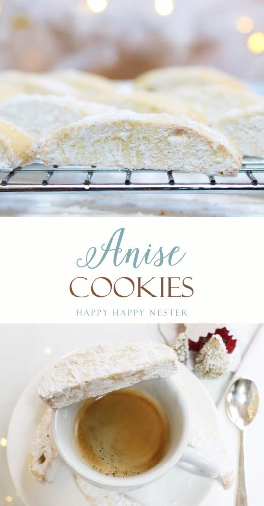 This is a blend of Italian anise cookies and a Croatian Cvite cookie. It is a unique blend you will love. Unlike a biscotti, it has powdered sugar topping.