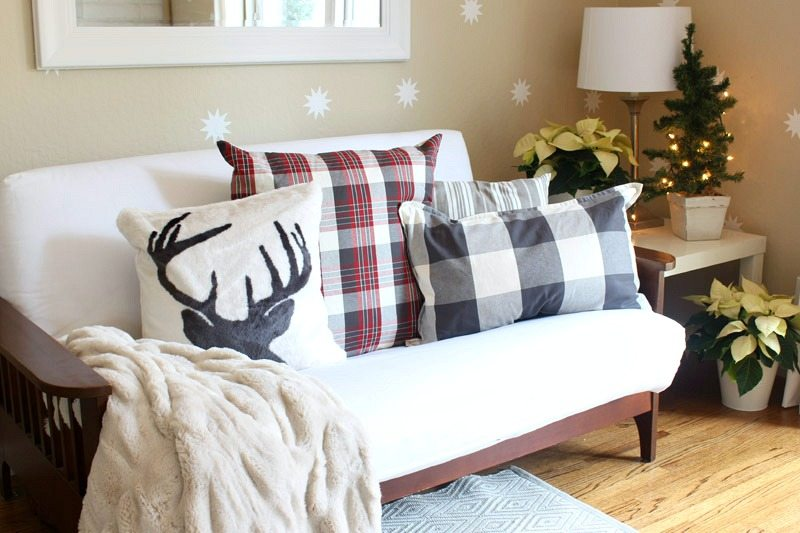 home-tour pottery barn plaid pillows stag buffalo print
