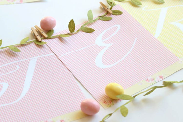 Free Easter Banner Printable: Pink and Green Gingham Print