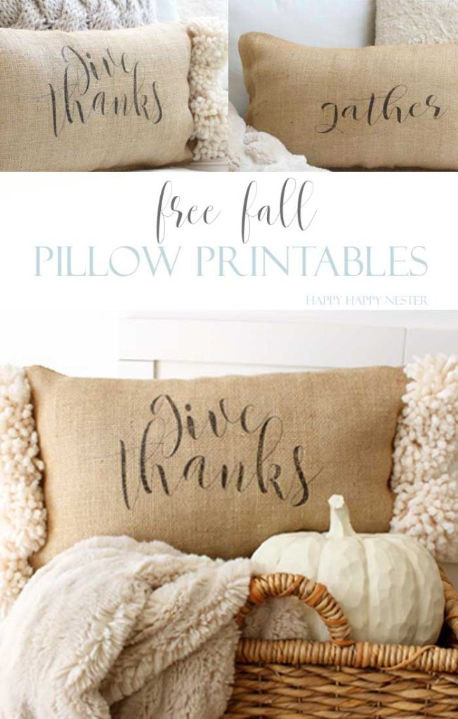 This free fall printable adds so much to these no sew burlap pillows. This fun project can be made with pom poms and choose between Give Thanks or Gather.