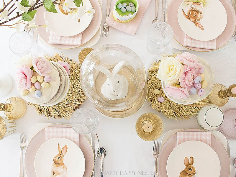 I'm all for simple Easter table settings. I'm certain you'll take away some inspiration from my table. Easy decorating ideas are among our Easter blog hop of twelve bloggers. Collect some ideas and get busy on your creating your Easter table. #decor #easter #easterdecor #decorating #eastertable #easytabledecor #holiday