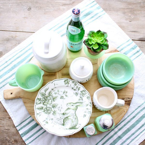 welcome spring with Jade green dishes and bunny plates