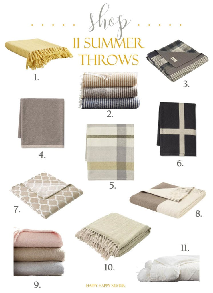 Summer throws are sometimes needed on chilly summer nights. I have collected my favorite lightweight throws just for you. This collection has both neutral and pastel colors perfect for any home. Shop my throws in this blog post. #homedecor #summerthrows #blankets #shopblankets #shopesummerthrows #lightweightthrows