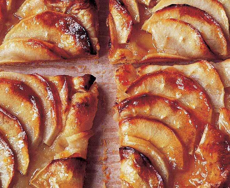 close up of apple slices in an apple tart
