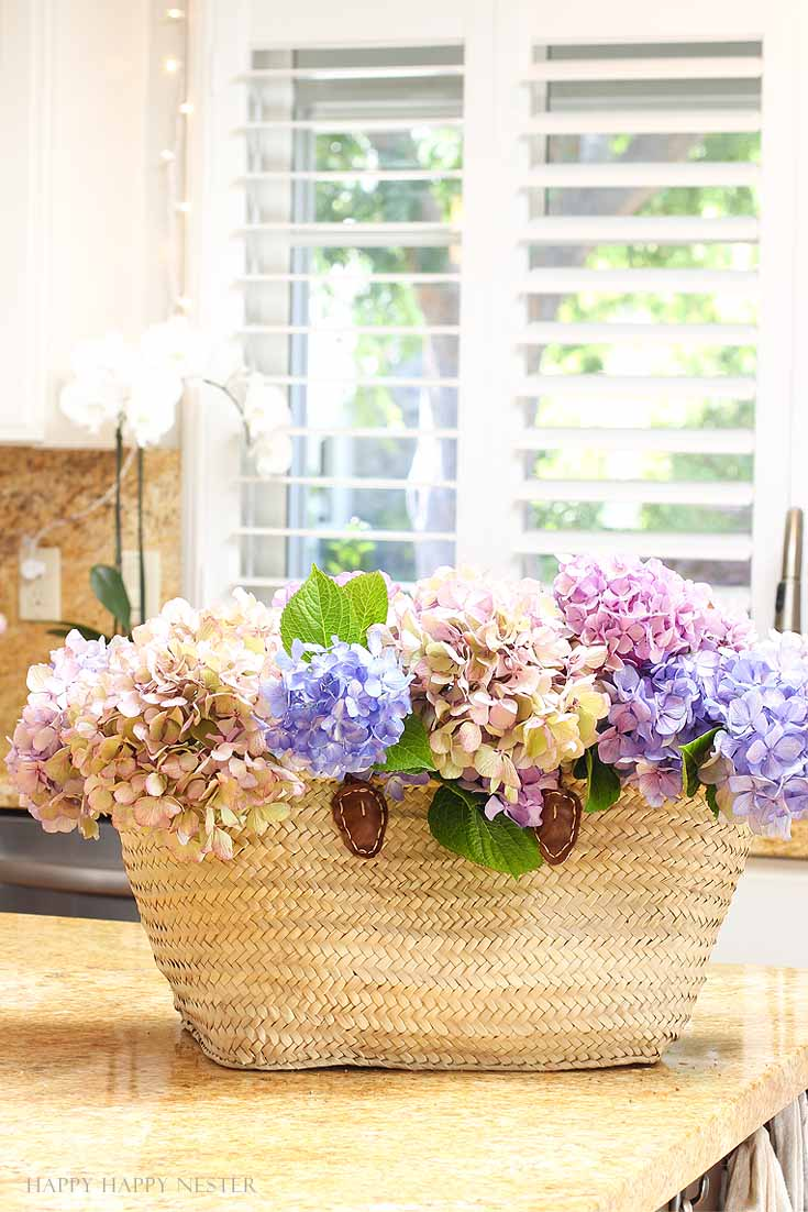 hydrangeas in a basket