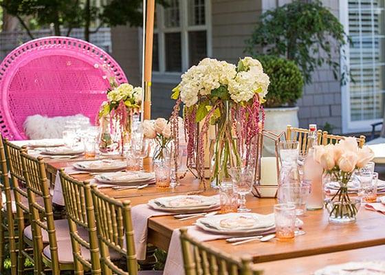 Beautiful blush feminine wedding table decor