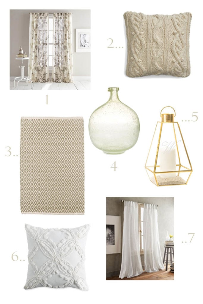 design board with neutral home decor items