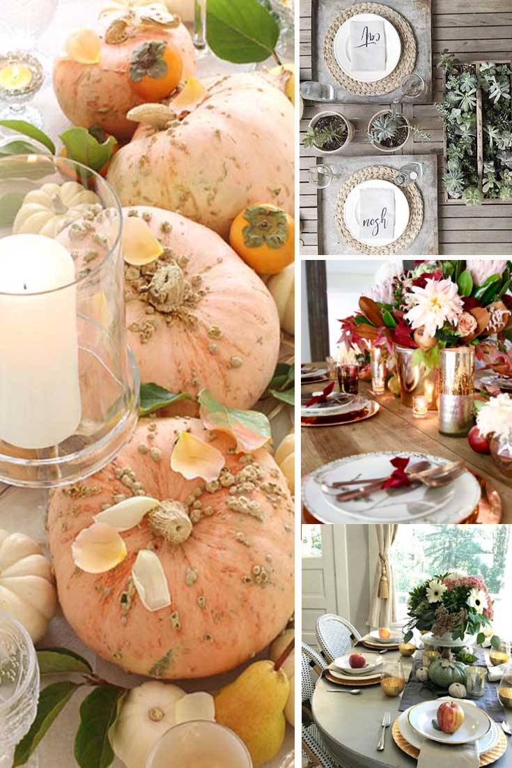 a collage of fall tablescapes