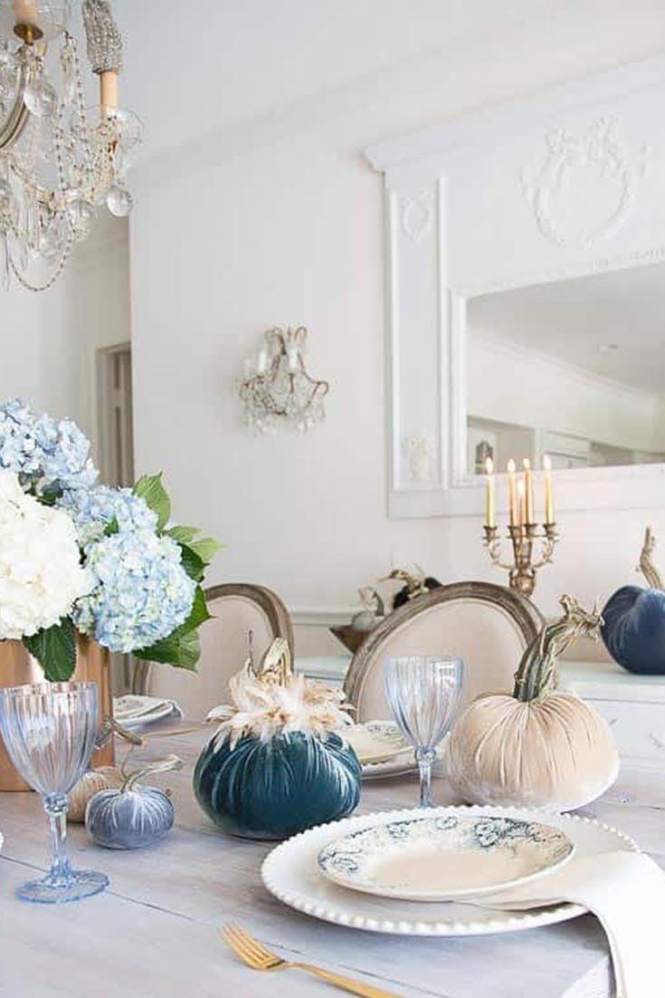 blue and white decorated table