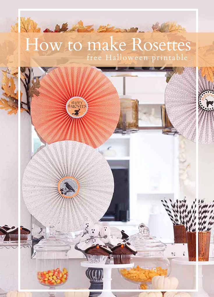 pin image for pinterest with 3 paper rosettes on a wall