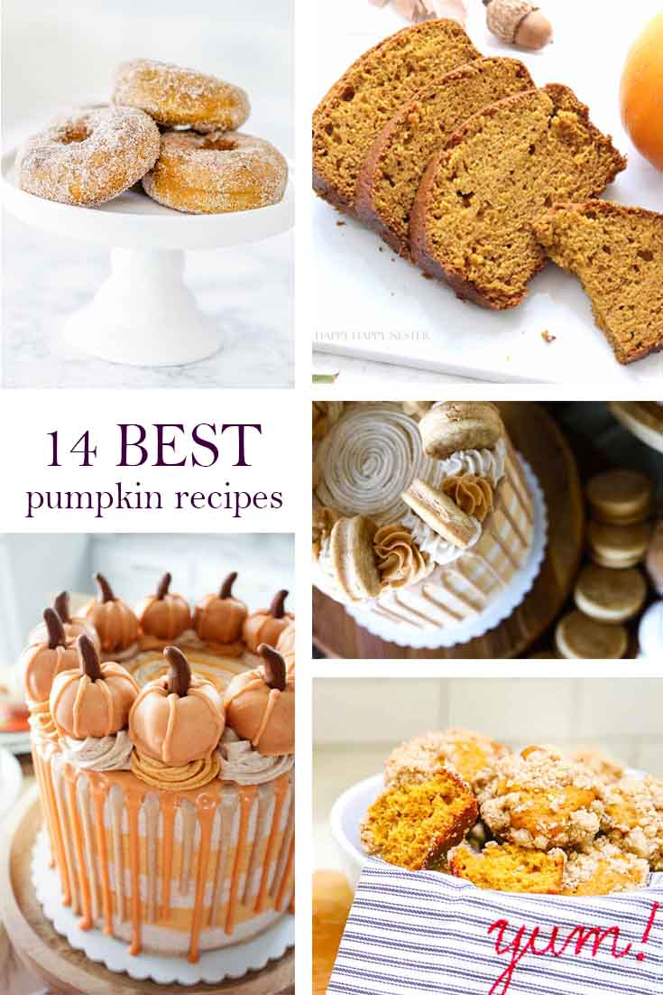 a graphic image for pinterest with 5 images of pumpkin desserts
