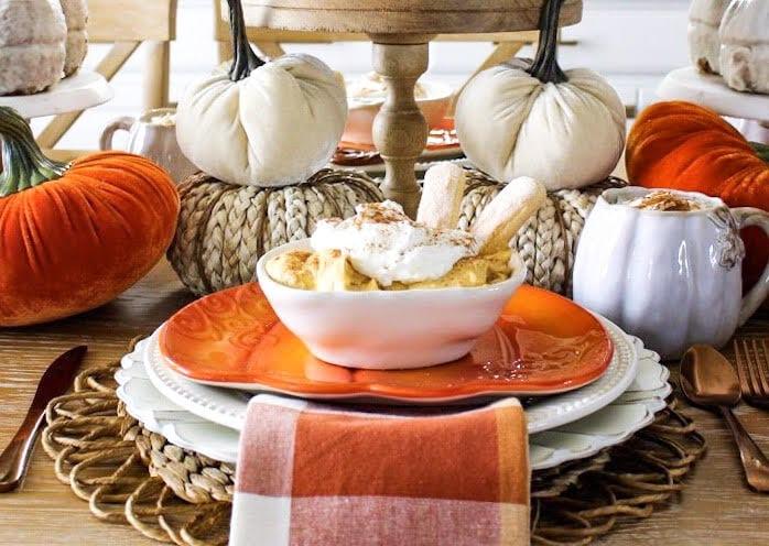 pumpkin dip on orange plate