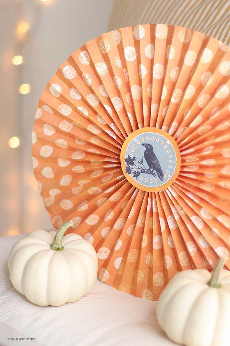 orange and white polka dot of halloween paper pinwheel