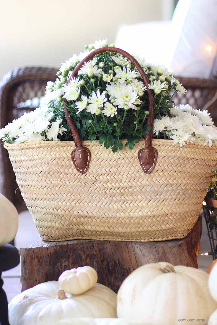 basket with white flowers