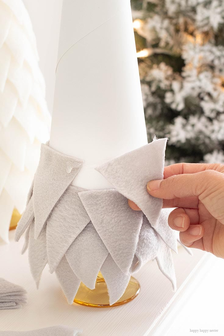 making a fleece cone christmas tree is easy and fun