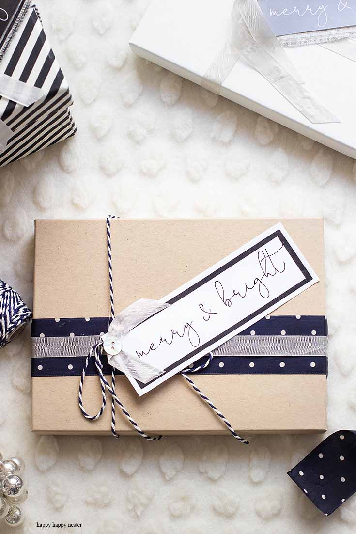 merry and bright holiday gift tags printable with four tags