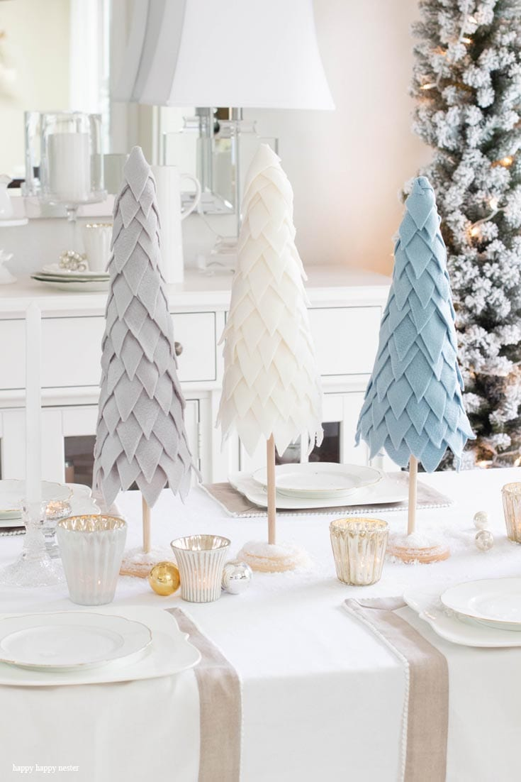 felt cone christmas tree in winter colors
