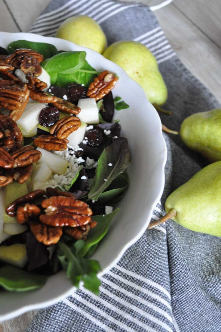 Thanksgiving pear and goat cheese salad