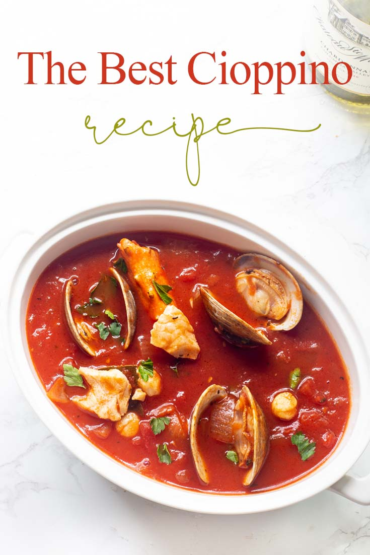 Our family favorite Yummy Seafood Stew Recipe is the best San Francisco style Cioppino. Make this the evening before so all the flavors are their best. This is the best Cioppino recipe since it includes wine and sugar to balance and mellow the acid from the tomatoes. #cioppino #italiandinner #soup #fishstew